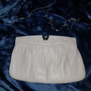 Cream clutch purse